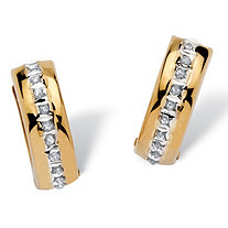 Diamond Fascination Huggie-Hoop Earrings in 14k Yellow Gold