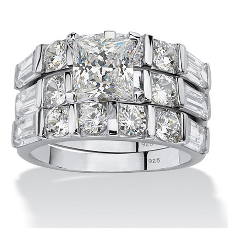 4.74 TCW Princess-Cut Cubic Zirconia Sterling Silver 3-Piece Bridal Engagement Wedding Band Set at PalmBeach Jewelry