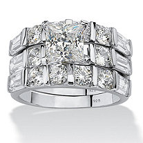 4.74 TCW Princess-Cut Cubic Zirconia Sterling Silver 3-Piece Bridal Engagement Wedding Band Set