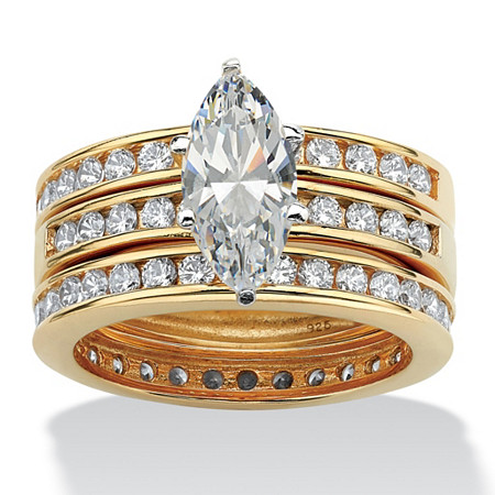 3.65 TCW Marquise-Cut Cubic Zirconia 18k Gold over Sterling Silver 3-Piece Bridal Ring Wedding Set at PalmBeach Jewelry