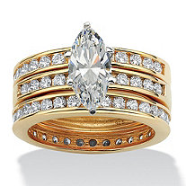 3.65 TCW Marquise-Cut Cubic Zirconia 18k Gold over Sterling Silver 3-Piece Bridal Ring Wedding Set
