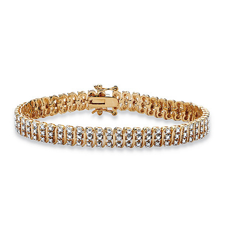 "Diamond Accent 18k Gold over Sterling Silver S-Link Tennis Bracelet 8"" at PalmBeach Jewelry"