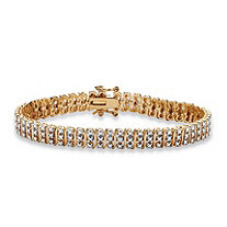"Diamond Accent 18k Gold over Sterling Silver ""S"" Link Tennis Bracelet 8"""