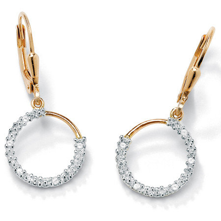 1/10 TCW Diamond 18k Gold over Sterling Silver Hoop Earrings at PalmBeach Jewelry