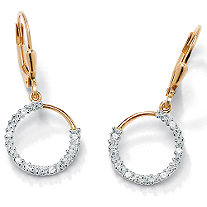 "1/10 TCW Diamond 18k Gold over Sterling Silver Hoop Earrings (5/8"")"