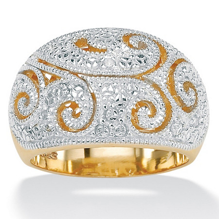 Diamond Accent Two-Tone 18k Gold over Sterling Silver Filigree Dome Ring at PalmBeach Jewelry