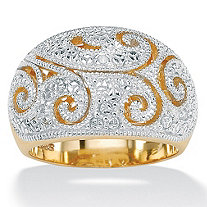 Diamond Accent Two-Tone 18k Gold over Sterling Silver Filigree Dome Ring