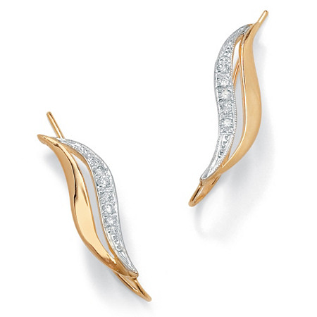 Burnish-Set Diamond Accent Ear Pins in Solid 10k Yellow Gold at PalmBeach Jewelry