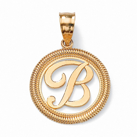 14k Yellow Gold Personalized Script Initial Pendant at PalmBeach Jewelry