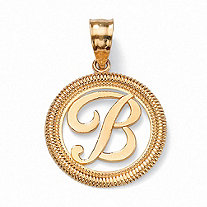 Personalized Script Solid 14k Yellow Gold Initial Pendant