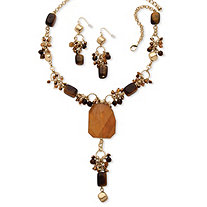 "Genuine Tiger's Eye and Quartz ""Y"" Necklace and Drop Earrings Two-Piece Set in Yellow Gold Tone"