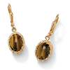 Related Item Genuine Oval Tiger's Eye Cabochon Drop Earrings 14k Yellow Gold-Plated