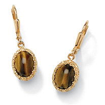 Genuine Oval Tiger's Eye Cabochon Drop Earrings 14k Yellow Gold-Plated