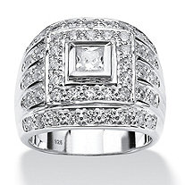 SETA JEWELRY Men's 2.89 TCW Square-Cut Cubic Zirconia Ring in .925 Sterling Silver