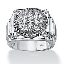 Men's 1.63 TCW Round Cubic Zirconia Ring in Platinum over Sterling Silver