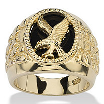 SETA JEWELRY Men's Oval-Shaped Genuine Onyx 18k Gold over Sterling Silver Nugget-Style Eagle Ring