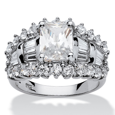 5.27 TCW Emerald-Cut Cubic Zirconia Platinum over Sterling Silver Ring at PalmBeach Jewelry