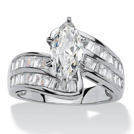 4.10 TCW Marquise-Cut Cubic Zirconia Platinum over Sterling Silver Engagement/Anniversary Ring at PalmBeach Jewelry
