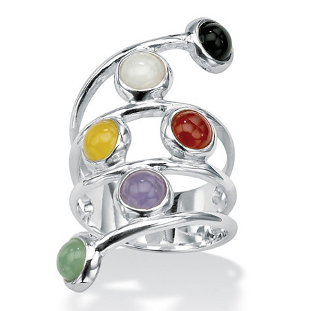 Round Multicolor Genuine Jade Bezel-Set .925 Sterling Silver Wrap Ring at PalmBeach Jewelry