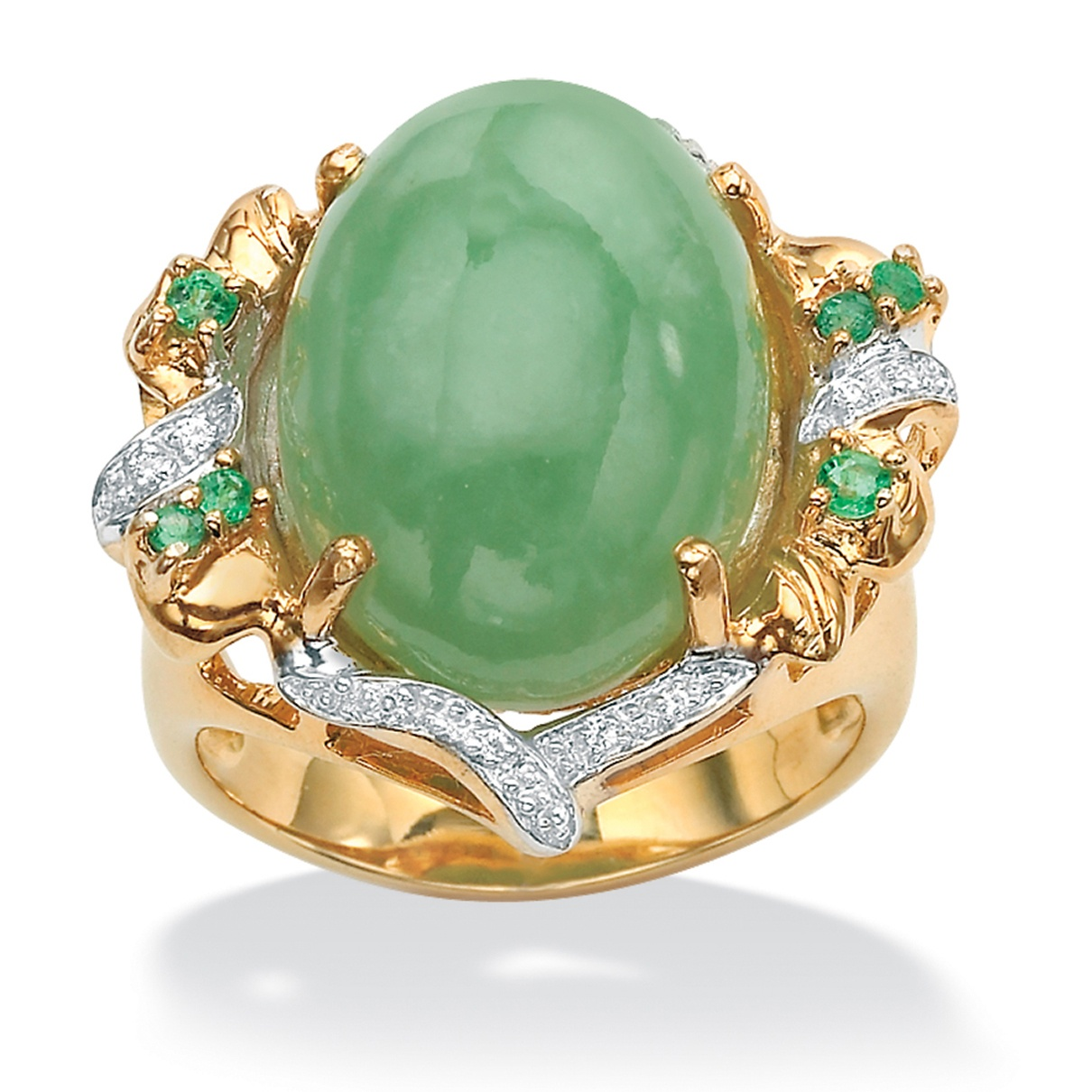 28 Tcw Genuine Emerald Jade And Cubic Zirconia Accent