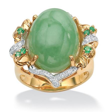 .28 TCW Genuine Emerald, Jade and Cubic Zirconia Accent Gold Tone over Sterling Silver Oval Ring at PalmBeach Jewelry