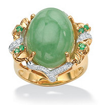 .28 TCW Genuine Emerald, Jade and Cubic Zirconia Accent Gold Tone over Sterling Silver Oval Ring