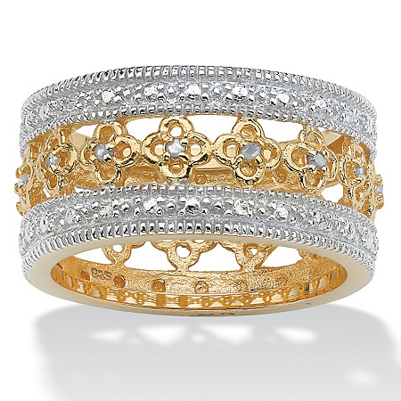 1/8 TCW Round Diamond 18k Gold over Sterling Silver Filigree Flower Motif Eternity Band at PalmBeach Jewelry