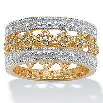 SETA JEWELRY 1/8 TCW Round Diamond 18k Gold over Sterling Silver Filigree Flower Motif Eternity Band