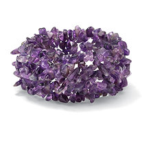 Genuine Purple Amethyst Nugget Stretch Bracelet 7""