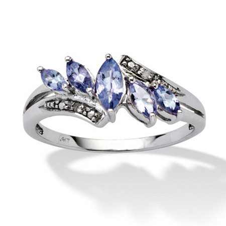.76 TCW Marquise-Cut Purple Genuine Tanzanite Diamond Accent 10k White Gold Classic Ring at PalmBeach Jewelry