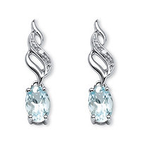 SETA JEWELRY .81 TCW Oval-Cut Genuine Aquamarine with Diamond Accents Drop Earrings in 10k White Gold