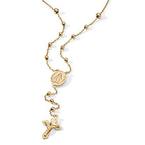 Rosary Style Necklace in 18k Gold over Sterling Silver