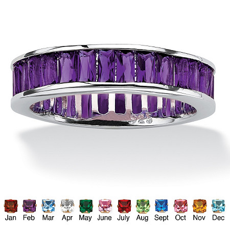 Emerald-Cut Birthstone Eternity Band in Sterling Silver at PalmBeach Jewelry