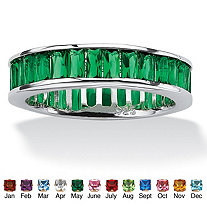 SETA JEWELRY Emerald-Cut Birthstone Eternity Band in Sterling Silver
