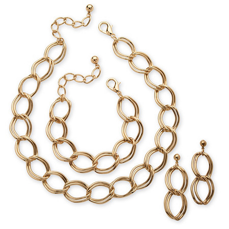 3 Piece Double Curb-Link Necklace, Bracelet and Earrings Set in Yellow Gold Tone at PalmBeach Jewelry