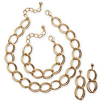 3 Piece Double Rollo-Link Necklace, Bracelet and Earrings Set in Yellow Gold Tone
