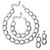 Related Item 3 Piece Double Curb-Link Necklace, Bracelet and Earrings Set in Silvertone