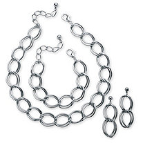 SETA JEWELRY 3 Piece Double Curb-Link Necklace, Bracelet and Earrings Set in Silvertone
