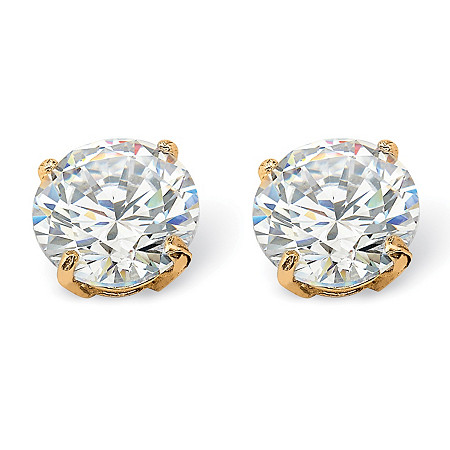 1.80 TCW Round Cubic Zirconia Stud Earrings in 10k Gold at PalmBeach Jewelry