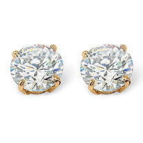 1.80 TCW Round Cubic Zirconia Stud Earrings in 10k Gold
