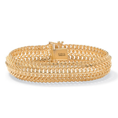 "Saduza-Link Bracelet in 18k Gold over Sterling Silver 7 1/4"" at PalmBeach Jewelry"