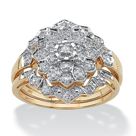 1/7 TCW Pave Diamond 3-Piece Floral Bridal Set in Solid 10k Gold at PalmBeach Jewelry