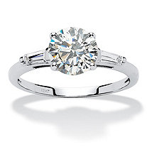 SETA JEWELRY 1.78 TCW Round Cubic Zirconia Anniversary Engagement Ring in 10k White Gold