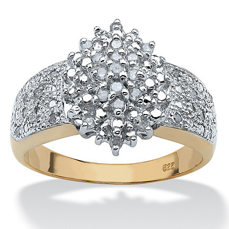 1/4 TCW Round Diamond 18k Gold over Sterling Silver Marquise-Shaped Cluster Ring at PalmBeach Jewelry