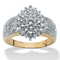 SETA JEWELRY 1/4 TCW Round Diamond 18k Gold over Sterling Silver Marquise-Shaped Cluster Ring