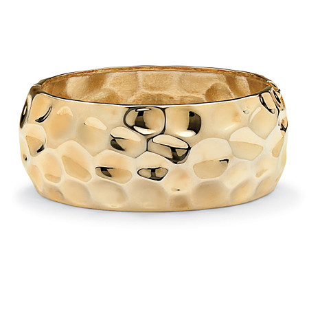 Hammered-Style Bangle Bracelet in Yellow Gold Tone 9