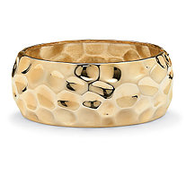 SETA JEWELRY Hammered-Style Bangle Bracelet in Yellow Gold Tone 9