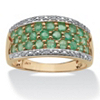 Related Item 1.07 TCW Round Genuine Emerald with Diamond Accents 10k Yellow Gold Ring