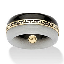 "Round Black and White Genuine Jade 14k Yellow Gold ""Greek Key"" Ring"