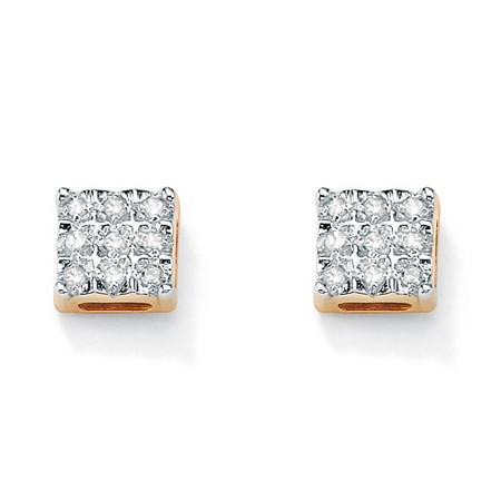 1/7 TCW Round Diamond 10k Yellow Gold Square-Shaped Stud Earrings at PalmBeach Jewelry